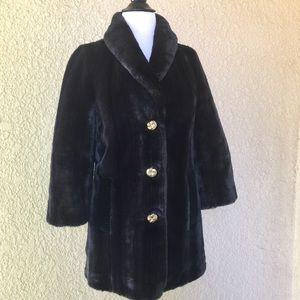 Juicy Couture Fur Shawl Collard Trench Coat  Blak